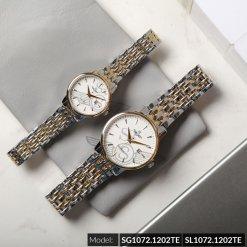 Đồng hồ cặp đôi SRWATCH SR1072.1202TE trắng cao cấp