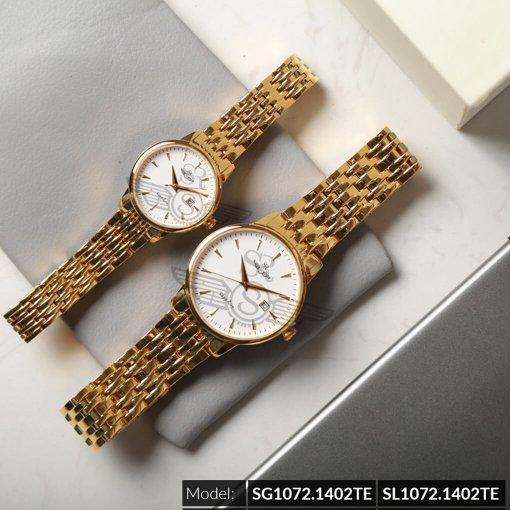 Đồng hồ cặp đôi SRWATCH SR1072.1402TE trắng cao cấp