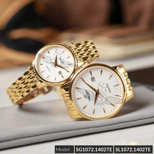 Đồng hồ cặp đôi SRWATCH SR1072.1402TE trắng chính hãng