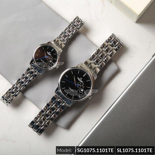 Đồng hồ cặp đôi SRWATCH SR1075.1101TE đen cao cấp