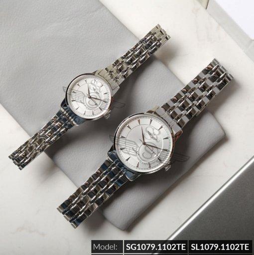 Đồng hồ cặp đôi SRWATCH SR1079.1102TE trắng cao cấp