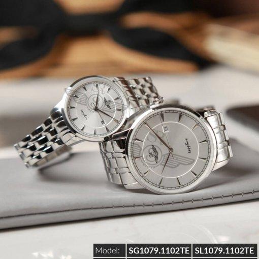 Đồng hồ cặp đôi SRWATCH SR1079.1102TE trắng chính hãng