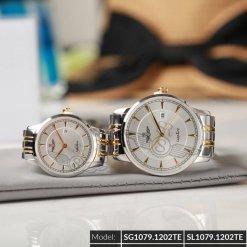 Đồng hồ cặp đôi SRWATCH SR1079.1202TE trắng chính hãng