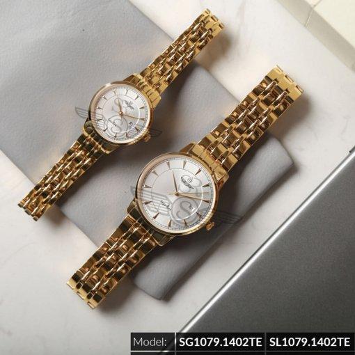 Đồng hồ cặp đôi SRWATCH SR1079.1402TE trắng cao cấp