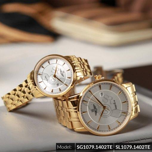 Đồng hồ cặp đôi SRWATCH SR1079.1402TE trắng chính hãng