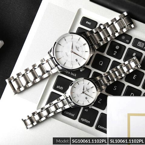 Đồng hồ cặp đôi SRWATCH SR10061.1102PL trắng-1