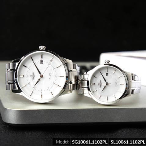 Đồng hồ cặp đôi SRWATCH SR10061.1102PL trắng-3
