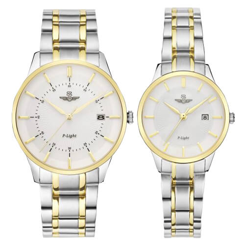 Đồng hồ cặp đôi SRWATCH SR10061.1202PL trắng